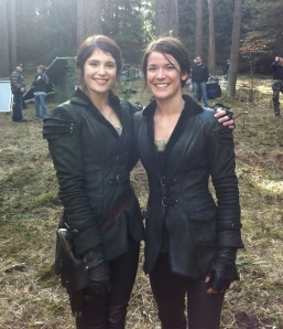 """Gretel"" actor Gemma Arterton (left) and stuntwoman Maja Aro at the set of Hansel & Gretel: Witch Hunters. Photo courtesy of Maja Aro."