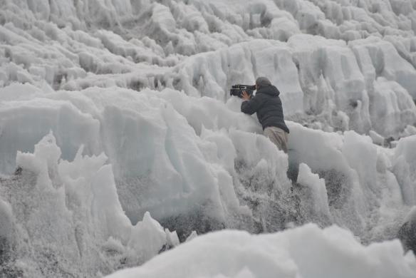 Dianne Whelan filming on a glacier. Photo: Carolina Ahumada Cala