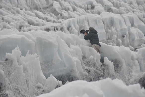 Dianne Whelan filming on a glacier. Photo: Carolina Ahumada Cala