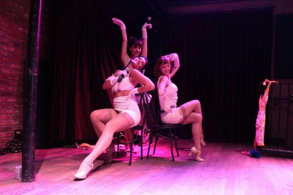 The True Heroines on stage - from left: Paula Giroday, Jovanna Huguet, Fiona Vroom.