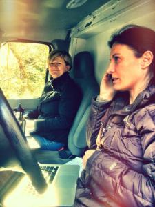 "Roslyn with producer Ines Eisses in the ""office"" during production--shooting in the rainforest!"