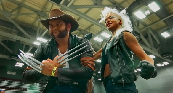 Fan Filmmaker Maya Glick as Storm with Wolverine Cosplayer at Wizard World, Austin, during filming of Fanarchy