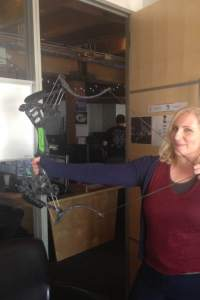 Suzanne MacLennan at work with a real bow from the TV series Arrow!